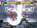 The King of Fighters '99: Millennium Battle PlayStation Through his 114 Shiki: Aragami move, Kyo Kusanagi aims to stop Leona Heidern's Moon Slasher attack.