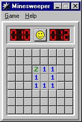 Minesweeper Windows Trying to locate mines... No mines in this square.