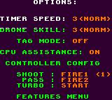 NBA Jam Tournament Edition Game Gear Options screen.