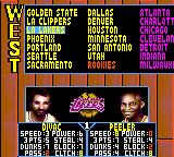 NBA Jam Tournament Edition Game Gear Selecting a team.