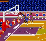 NBA Jam Tournament Edition Game Gear The Nuggets goes for a dunk.