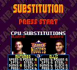 NBA Jam Tournament Edition Game Gear Substitution screen.