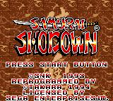 Samurai Shodown Game Gear Title screen.