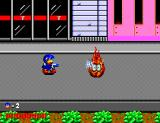 Dynamite Düx SEGA Master System Bin must shoot water against his first boss, a walking flame!