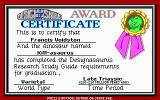 Designasaurus II DOS A certificate for successful killing and mating. Cool.