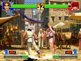 The King of Fighters '98: The Slugfest PlayStation Kim Kaphwan executes his move Haki Kyaku at the same time that Shermie's Emergency Evade command...