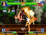 The King of Fighters '98: The Slugfest PlayStation Mai Shiranui attacks successfully Leona Heidern through her kick-flaming move Hishou Ryuu'en Jin.