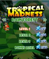 Tropical Madness J2ME Level select screen