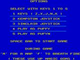 Puffy's Saga ZX Spectrum Main menu