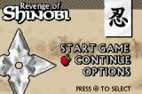 The Revenge of Shinobi Game Boy Advance Main menu