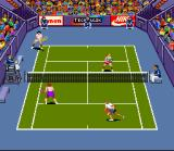 Andre Agassi Tennis SNES Doubles in Hard Court.