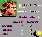 Andre Agassi Tennis Game Gear Selecting player