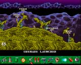 Worms: The Director's Cut Amiga The weapon selection is at the bottom (right click)