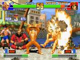 The King of Fighters '98: The Slugfest PlayStation Now, Ralf Jones is burning into the 3 damaging-flaming-hits of Billy Kane's DM Salamander Stream...