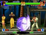 The King of Fighters '98: The Slugfest PlayStation Orochi Chris tries to counterattack Takuma through his energy ball-based DM Daichi o Harau Gouka.
