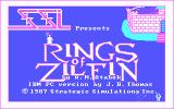 Rings of Zilfin DOS Title screen, with a funny animation of a bat turning to a wizard zapping guys.