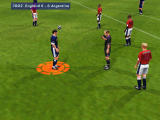 Microsoft International Soccer 2000 Windows The ref books Argentina for a tackle.