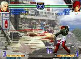 The King of Fighters 2002: Challenge to Ultimate Battle Neo Geo Using his 108 Shiki: Yami Barai, Iori Yagami is about to stop Yashiro Nanakase's Jet Counter move...
