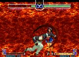 The King of Fighters 2002: Challenge to Ultimate Battle Neo Geo A taunting Athena Asamiya is about to be struck by Orochi Yashiro's high-damage HSDM Armageddon...