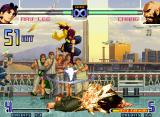 The King of Fighters 2002: Challenge to Ultimate Battle Neo Geo May Lee attacks Chang Koehan with the strength of 51/54 non-stop hits of her SDM Disposition Frog.