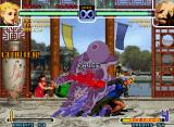 The King of Fighters 2002: Challenge to Ultimate Battle Neo Geo Game paused when Mature uses successfully her Rugal Bernstein-style SDM Heaven's Gate against Chang.