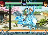 "The King of Fighters 2002: Challenge to Ultimate Battle Neo Geo Planning to stop Orochi Shermie's SDM ""Shukemei, Gen'ei, Shinshi"", Kim uses his move Hishou Kyaku."