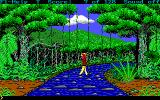 Hugo III: Jungle of Doom DOS Hugo swings across some vines like Tarzan..