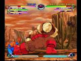 Marvel vs. Capcom 2 Dreamcast Da Boot. Spiderman gets a body-full of Juggernaut's foot. Some of the characters are huge.