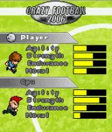 Crazy Football 2006 J2ME Player selection screen for a single match
