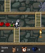 Hugo: Black Diamond Fever 2 J2ME Hugo has been killed by the skeletons - they can use the ladders as well.