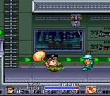 Ganbare Daiku no Gensan SNES That soldier has a futuristic hat on him, the hat that has one of the flashing lights on top of it