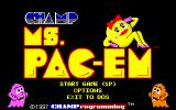 CHAMP Ms. Pac-em DOS The title screen and main menu.