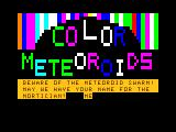 Color Meteoroids TRS-80 CoCo Intro screen #2 - enter your initials