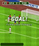 FIFA 06 J2ME Fernando Torres puts Spain in the lead against Korea.