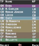 FIFA 06 J2ME Players line-up and substitution screen