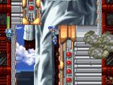 Mega Man X5 PlayStation X is climbing up the walls of the statue.