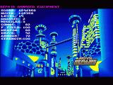 Universal Warrior Amiga The cityscape of Neo Tokyo is the main menu between levels where you visit shops and equip your robot.