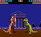 Primal Rage Game Gear Sauron hits sauron with something that looks like a sonic blast.