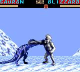 Primal Rage Game Gear Bizzard freezes and punches Sauron.