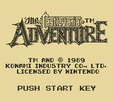 Castlevania: The Adventure Game Boy Title Screen