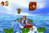 Crash Bandicoot 2: N-Tranced Game Boy Advance Using his wakeboard, Crash must head up the ramp to get-break a Crash Crate.