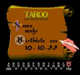 Taboo: The Sixth Sense NES Enter Your Information