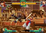 The King of Fighters 2001 Neo Geo Choi Bounge tried... and accurately struck Li Xiangfei through his slash-kickin' move Hien Zan!