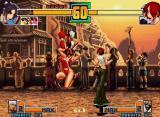 The King of Fighters 2001 Neo Geo Mai Shiranui executes her air-knee move Ukihane at the same time that Vanessa only taunts her.