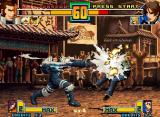 The King of Fighters 2001 Neo Geo Kyo Kusanagi runs to attack Maxima, but he's suddenly hit-stopped by a M4 Kata Vapour Cannon...