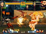 "The King of Fighters 2001 Neo Geo The current 4 hits from K9999's DM ""Temee mo oucchimae!"" are causing a non-stop damage in Chang!"