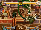 The King of Fighters 2001 Neo Geo While Foxy attacks Chin Gentsai using a sword-swinging move, Ralf Jones only executes his taunt.