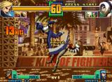 The King of Fighters 2001 Neo Geo Game paused when King uses and finishes successfully her DM Surprise Rose against Foxy.