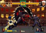 The King of Fighters 2001 Neo Geo K' and Maxima being struck by Grugan's claw-diving attack and Original Zero's Zanpuu Enpa: Satsuma.