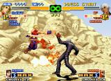 The King of Fighters 2000 Neo Geo Blue Mary tries to stop K's move Eins Trigger only using the impulsive impact of a Body Blow Attack!